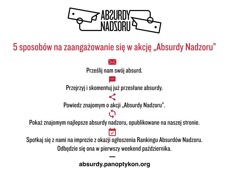 """5 sposobów na zaangazowanie się w akcję """"Absurdy Nadzoru"""": Prześli absurd, przejrzyj i skomentuj absurdy; powiedz znajomym o akcji; pokaż znajomym absurdy na naszej stronie; spotkaj się z nami na imprezie."""