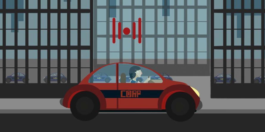 Kadr z animacji Nowoczesność. Samochód na sygnale jadący przez miasto.