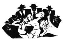 Obrazek do tekstu - zadowolona para otoczona czarnymi postaciami