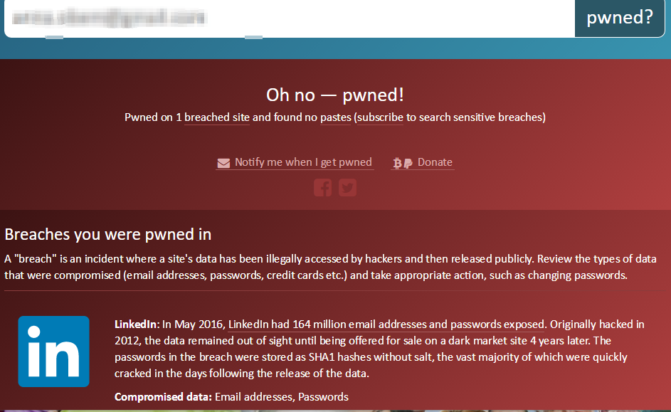 Zrzut ekranu: Have I Been Pwned